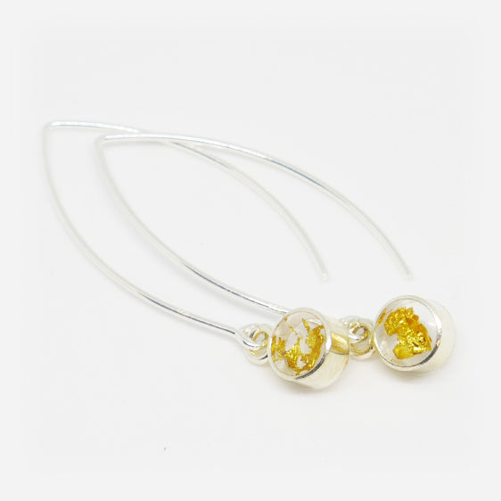 Sterling Silver and 24ct Gold leaf small round resin pair of drop earrings on long hooks.