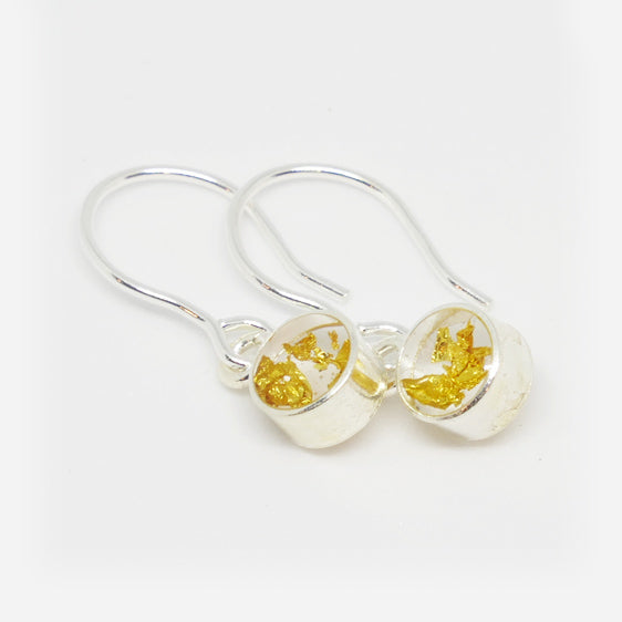 Sterling Silver and 24ct gold leaf small round resin pair of drop earrings on shorter hooks