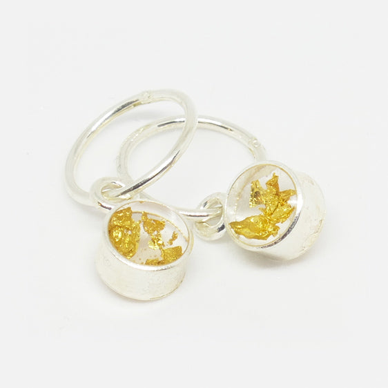 Sterling Silver and 24ct Gold leaf small round resin pair of drop earrings on hoops