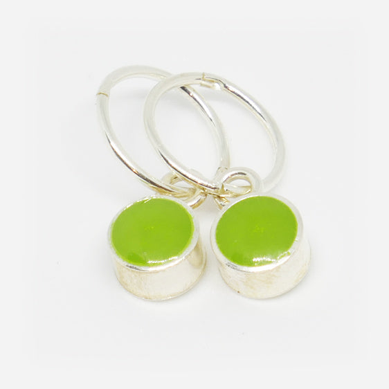 Sterling Silver small round resin pair of drop earrings on hoops (Pictured Wasabi) Other colours available