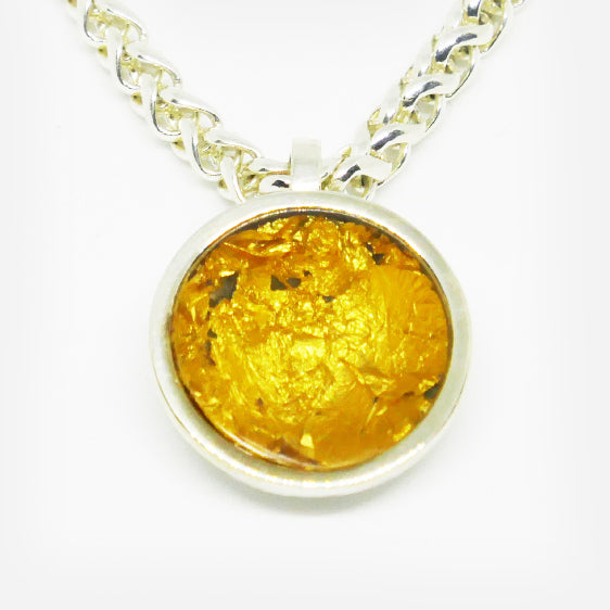 Sterling Silver & 24ct gold leaf pendant with clear resin (Chain sold separately)