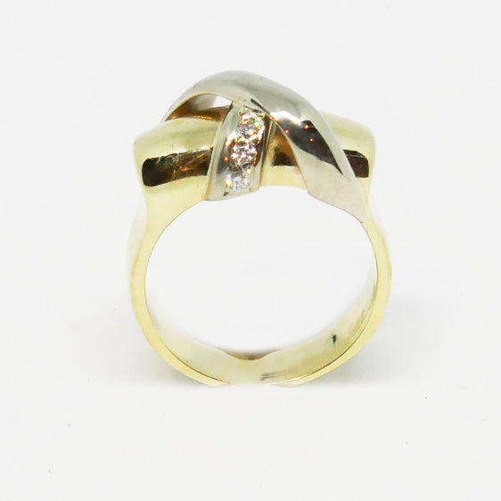 9ct yellow and white gold diamond crossover bar ring