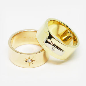 9ct Rose gold wide star set diamond ring (Pictured on the left)