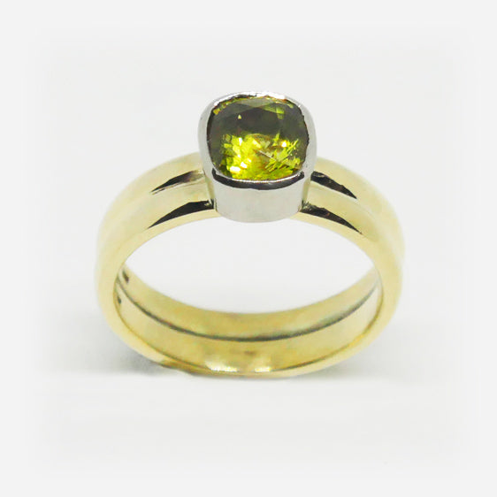 9ct yellow and white gold cushion cut Chrysoberyl ring.