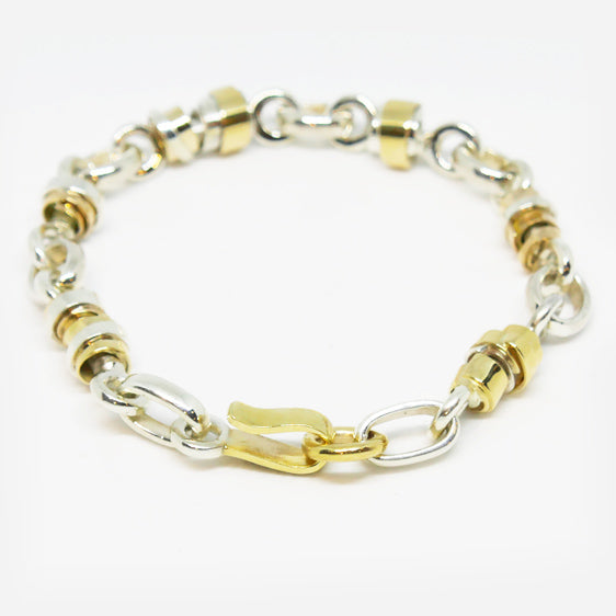 Handmade Sterling Silver and 9ct gold link bracelet