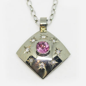 18ct white gold, pink sapphire and star set white diamond pendant (Chain sold separately)