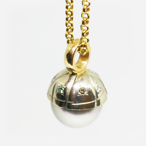 Handmade 9ct white and yellow gold, 13mm Tahitian Grey Pearl and multi coloured diamond pendant. (Chain sold separately)