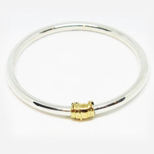 Handmade Sterling Silver and 9ct yellow gold bangle