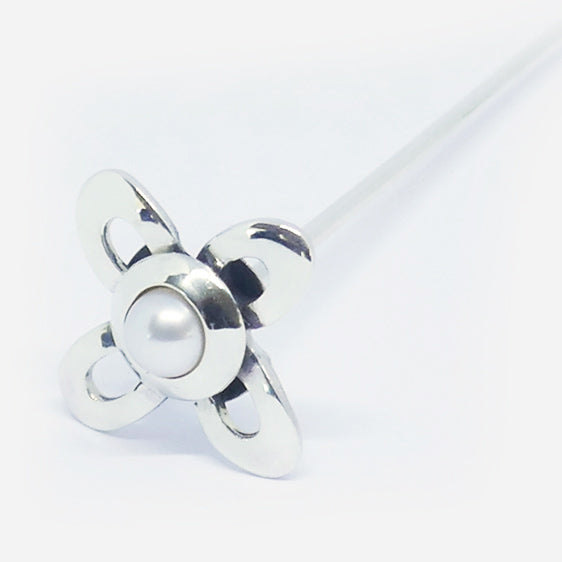 'Judy' stg silver & pearl flower stick