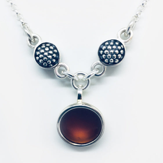 Sterling Silver , double sided 'raspberry' and burnt red resin necklace