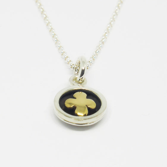 Sterling Silver and 9 ct gold round cross pendant (chain sold separately)