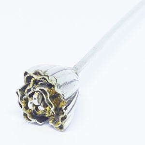 'Vivee' Stem, Sterling Silver & 24ct Gold leaf / clear resin