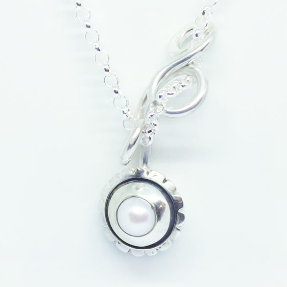 'Kate' Sterling silver and pearl medium curly pendant (Chain sold separately)
