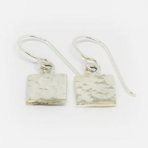 c21448c3210cc Sterling silver small hammered square drop earrings