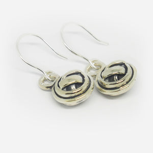 Sterling Silver double sided knot ball drop earrings