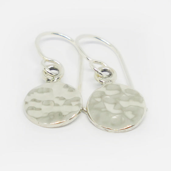 6026593ed2b30 Sterling Silver small round hammered drop earrings