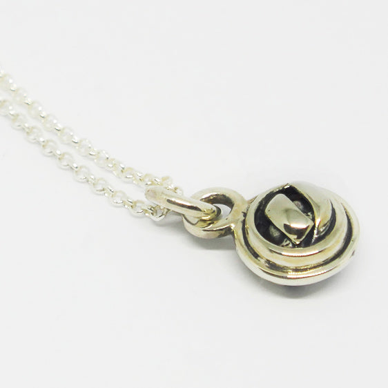 Sterling silver oxidised double knot ball pendant (chain sold separately)