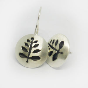 Sterling silver , matt finish round drop fern earrings