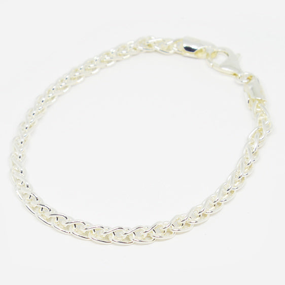 4mm Sterling Silver Wheat chain Bracelet