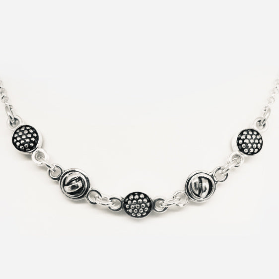 Sterling silver double sided alternating raspberry knot ball necklace