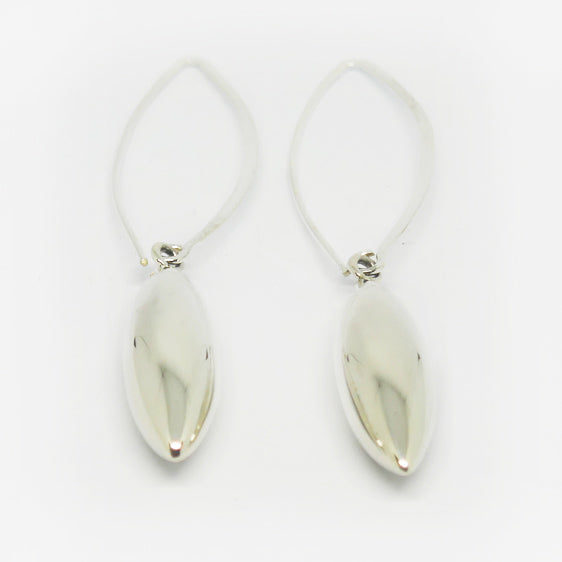 Sterling silver long marquise shaped sphere on long hook earrings