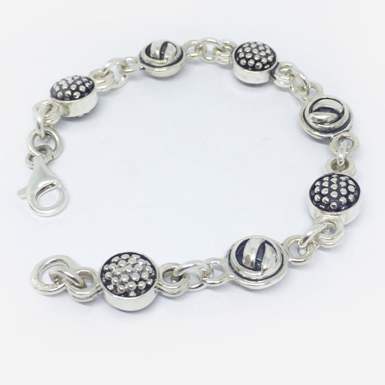 Sterling silver double sided knot and raspberry ball bracelet