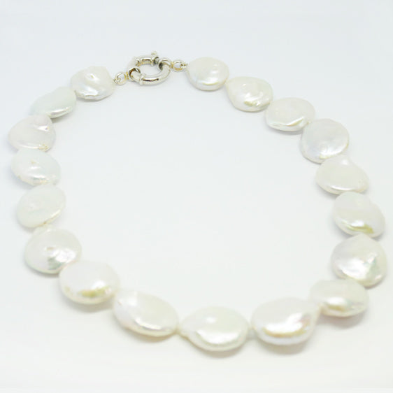 Large cultured pearl necklace, stg silver boltring clasp