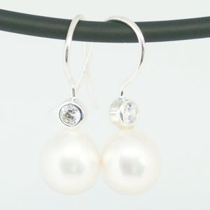 Sterling Silver , cultured pearl & cubic zirconia drop earrings