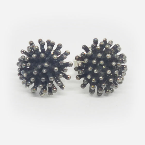 Oxidised sterling silver  'prickle' stud earrings