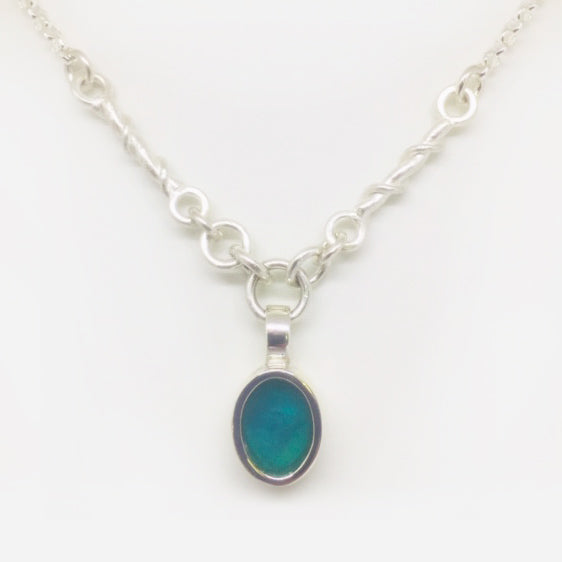 Sterling silver oval turquoise resin and twisted link necklace