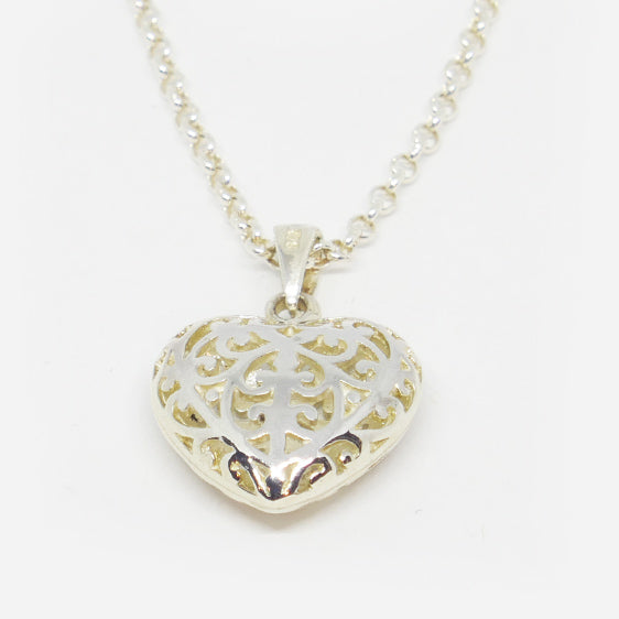 Filigree sterling silver heart pendant (chain sold separately)