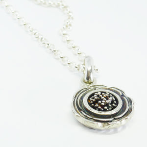 """Marg"" short pendant oxidised sterling silver (Chain sold separately)"