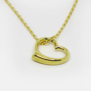 9ct Gold heart on chain necklace (complete)