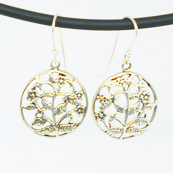Sterling Silver oxidised round filigree flower drop earrings