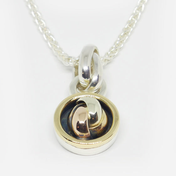 9ct yellow, white and rose gold in sterling silver pendant (chain sold separately)