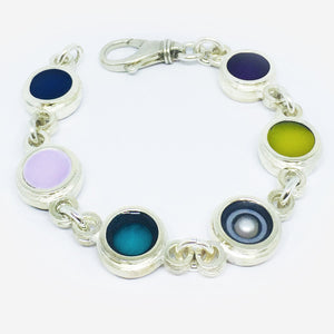 'Spring' sterling silver and resin and single cultured pearl bracelet