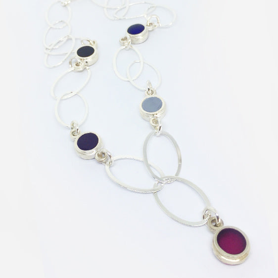 Winter colours resin and Sterling Silver necklace