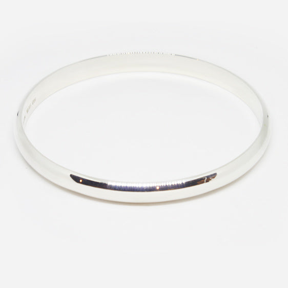 Solid Heavy sterling silver D shaped bangle (in 4 sizes)