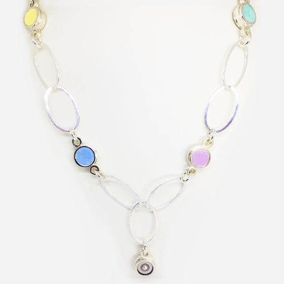 'Spring' Sterling silver and pastel coloured resin and pearl large oval link necklace