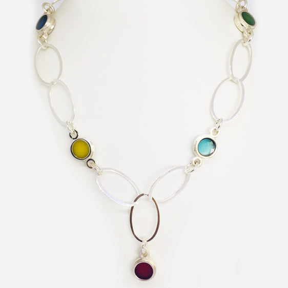 'Summer'  large sterling silver and resin oval link necklace