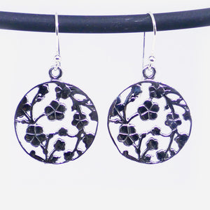 Sterling silver round filigree flower drop earrings