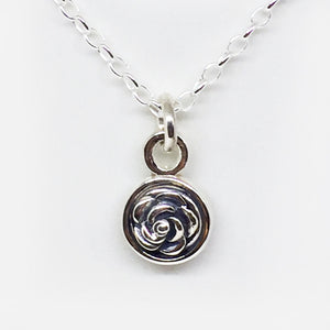Oxidised Sterling silver double side rose pendant (chain sold separately)