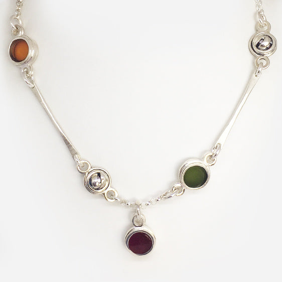 Sterling Silver and multi coloured resin necklace