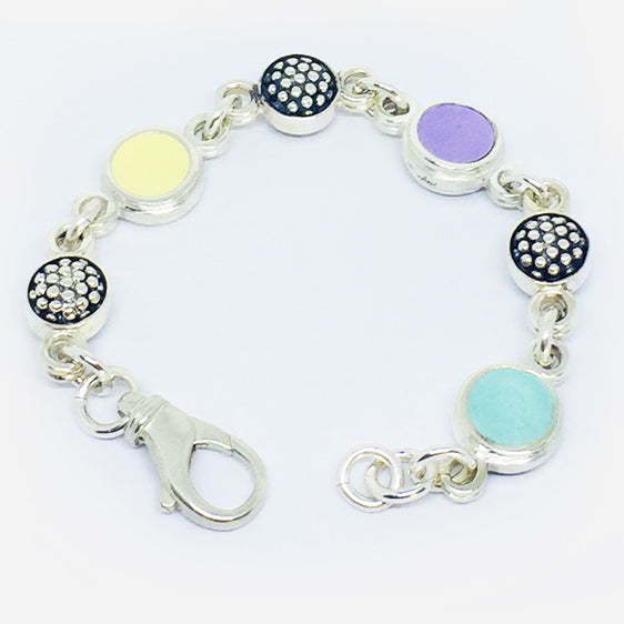 Sterling Silver double sided 'raspberry' and pastel coloured resin round link bracelet