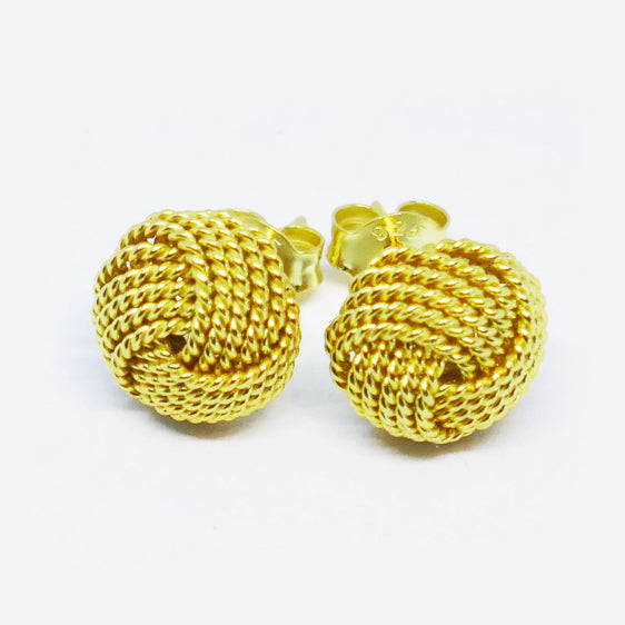 Yellow gold plated sterling silver knot stud earrings