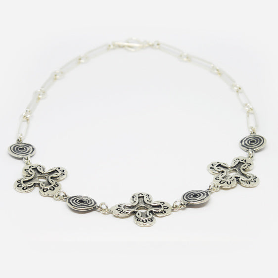 Sterling Silver  oxidised stylised flower, and long link necklace