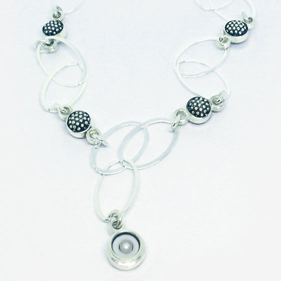 Sterling Silver , cultured pearl and double sided raspberry link necklace