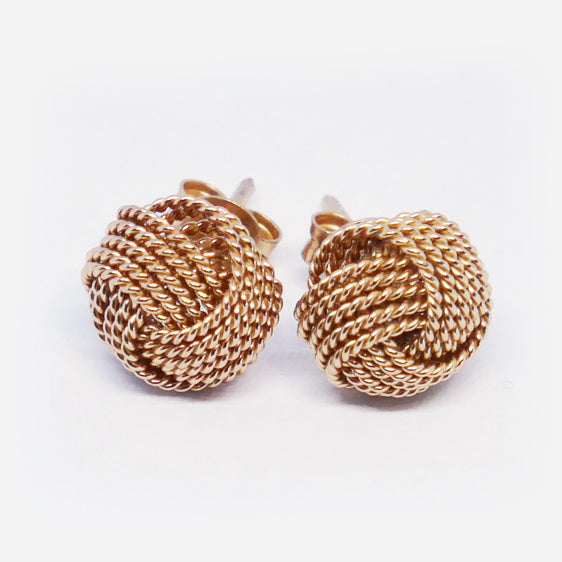 Rose gold plated sterling silver knot stud earrings