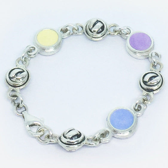 Sterling Silver double sided knot ball and pastel coloured resin bracelet