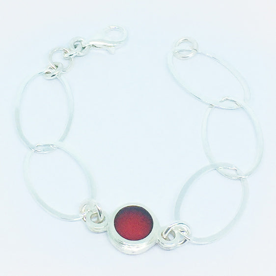 Sterling Silver and resin link bracelet (Pictured red ink)